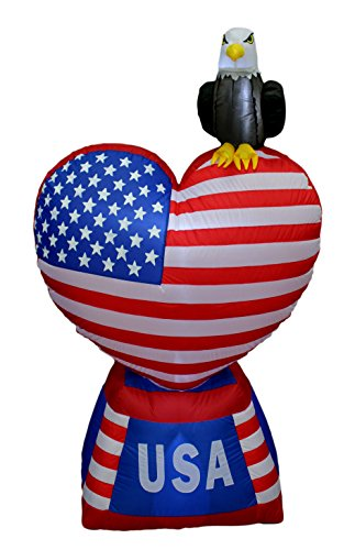5 Foot Tall Patriotic Independence Day 4th of July Inflatable Love Heart with American Flag and Bald Eagle LED Blow Up Lighted Decor Indoor Outdoor Holiday Art Decor Decorations
