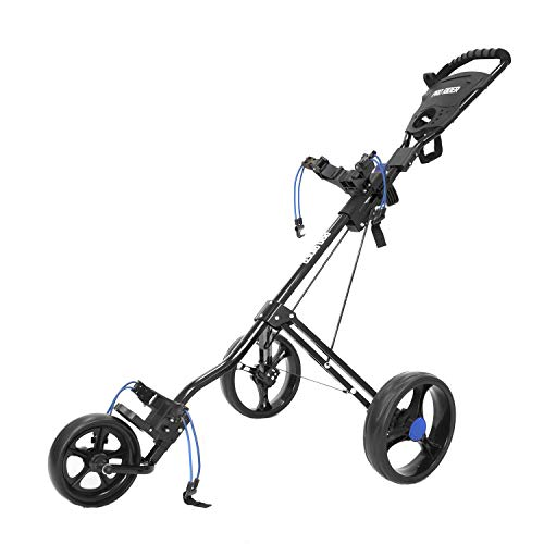 Pro Rider 3 Wheel Deluxe Push Golf Trolley – Manual Push/Pull Golf Cart (Black & Blue)