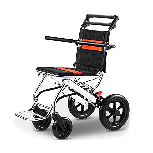 Portable Folding Wheelchair, Travel Wheelchair with handbrake, Ultra-Light Wheelchair for The Elderly and Children (with Bag)