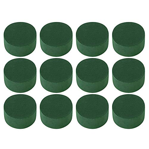 12 Pieces Round Wet Floral Foam, Floral Foam Arrangement Kit for Florist Floral Craft Flowers Floristry Designs & Displays Green