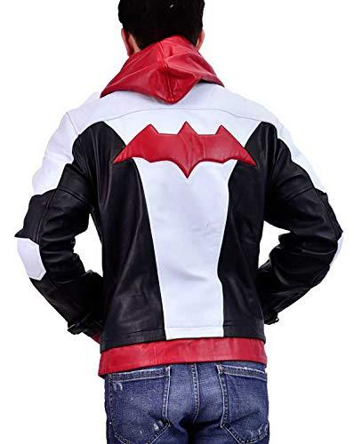 Jason Todd Batman Arkham Knight Red Hood Kostüm Lederjacke Gr. XXXL, Rote Kapuze aus echtem Leder