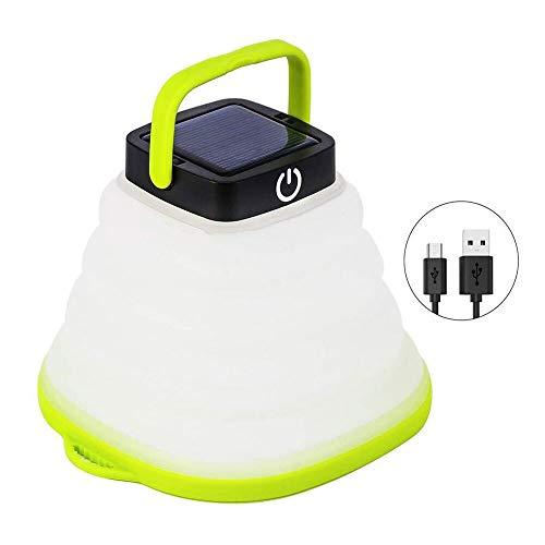 AZHUI wasserdichte Camping Licht Foldding solarbetriebene Laterne LED-Mini-Taschenlampe Hanging-Zelt-Lampe USB aufladbare Hafen beweglicher Nachtlicht for Camping Fischen Shed