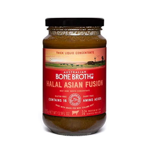 Halal Beef Bone Broth Concentrate- Certified Halal Asian Fusion – Great Protein Food Source - Instant Spicy Broth for Gut Health, Digestion and General Well-Being. 395 Grams Made in Australia