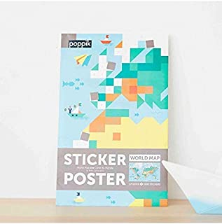 Póster de mosaico de píxeles – Puzle gigante – POPPIK – 1600 adhesivos + 1 póster – Mapas mundial (para 6 – 12 años) – Arte creativo según números arte y esculturas de pared – inspirado en Montessori