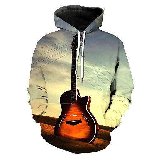 Blwz Pullover Hoodies Unisex Paar 3D Retro Gitaar Paal Print Mannen Vrouwen Lange Mouw Sweatshirts Uniform Jumpers Outdoor Leisure S-3XL