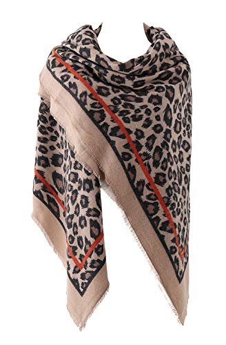 EXCHIC Damen Oversized Leopardenschal Winter warme Schal (Khaki)