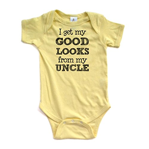 Apericots I Get My Good Looks from My Uncle Short Sleeve Baby Bodysuit,Yellow,6 Months