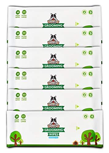 Pogi's Pflegetücher Reisepaket - 120 desodorierende Abwischtücher für Hunde - extragroß, biologisch abbaubar, unparfümiert, natürlich