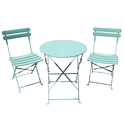 SUNDO Bistro Set 3-teilig, Balkon Set klappbar, Gartenmöbel mit Balkontisch und 2 Balkonstühle, Gartenset aus Stahl, Bistrogarnitur für innen und außen (Blau)