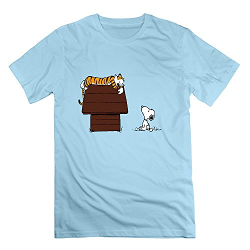 Custom Calvin And Hobbes Tiger Sleep On Doghouse Snoopy Men's Tshirt SkyBlue Size L