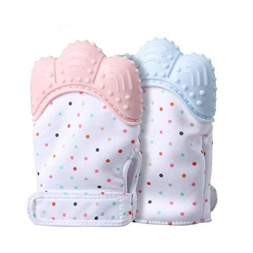 Baby Zahnen Handschuh,Aranticy 2 Stück Beißringe Fäustling Teething Mitt Glove Soothing selbstberuhigende Schmerzlinderung Silikon Zahnen Fäustlinge Schützt Babys Hände von Speichel Kauen Spielzeug