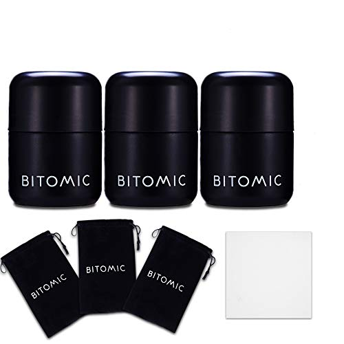 BITOMIC Herb Container Glass Stash Jar for Food, Spices, Weed & Cannabis Jar Storage 3 Pc - Smell Proof UV Proof Airtight | Child Resistant Refillable Jar keeps herbs fresh – Matte Black 1.7oz 50ml