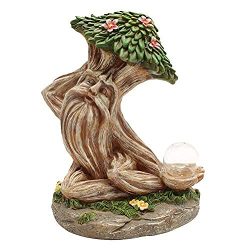 Ububiko Statuetta Ornamentale per Giardino, dell'uomo Dell'Albero Luci Esterne Ad Energia Solare, Statua da Giardino in Resina Perfetta Come Decorazione Prato E Regalo