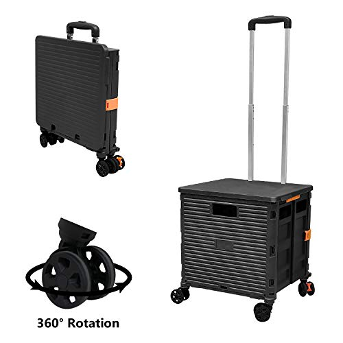 Foldable Utility Cart Folding Portable Rolling Crate Handcart with Durable Heavy Duty Plastic Telescoping Handle Collapsible 4 Rotate Wheels for Travel Shopping Moving Luggage Office Use (Black)