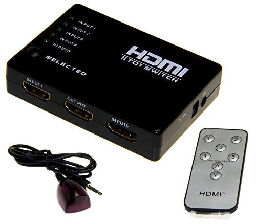 Esamconn HDMI Switch / Switcher, 5x1 5 porte 5 ingresso 1 uscita HDMI Audio Switch / video con telecomando IR per il Blu-Ray, PC, HDTV, Xbox, PS3, DVD, ecc Supporta 1080p 3D