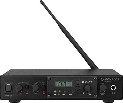 MONACOR TXA-800ST Professionelles 16-Kanal-Mono-PLL-Audio-Übertragungssystem, 863-865MHz, mit umfangreichem Zubehör, Schwarz