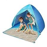 Tente Anti UV 50, Tente de Plage pour 2-3 Personnes/ Enfant Adulte, Tente de Plage avec piquets de Tente pour Sac de Transport