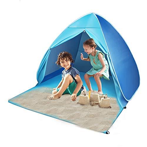 FBSPORT Tenda da Spiaggia, Portatile Tenda per 2-3 Persone, UPF 50+, Pop-up Beach Tent per Viaggi Esterni i Bambini Giocano