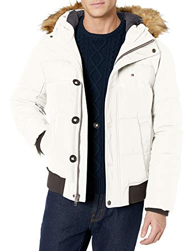 Tommy Hilfiger Men's Arctic Cloth Full Length Quilted Snorkel Jacket (Standard and Big & Tall), Soft White, Medium