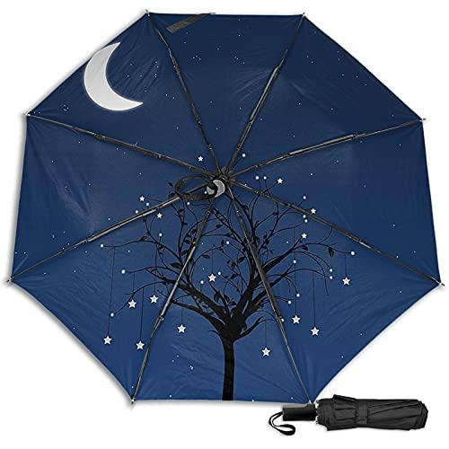 LYYNBLA Moon and TreeCompact - Paraguas de viaje con diseño manual abierto, triple plegable, resistente al viento, para exteriores, lluvia y sol, Impresión interior., Taille unique