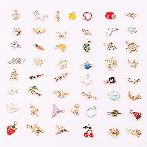 Seatecks 50Stück Charms Anhänger Verschiedene Gemischte Stile Emaille Anhänger Halskette Armband Ohrring Charms Dekorationen für DIY Schmuckherstellung und Herstellung