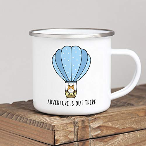 DKISEE Adventure Is Out There Camp Mug, Corgi Enamel Camping Mug, Travel Quote Metal Coffee Mug, Rustic Home Decor, Camper Gift Hot Air Balloon Mug 10oz