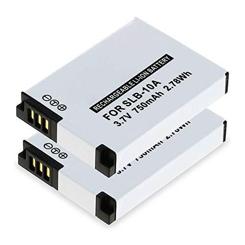 subtel® 2X Batería de Repuesto SLB-10A per Samsung WB1100f WB150f WB200f WB2100 WB250f WB350f WB500 WB550 WB700 WB750 WB800f WB850f EX2f M100 M110, 750mAh, Accu Sustitución Camara, Battery