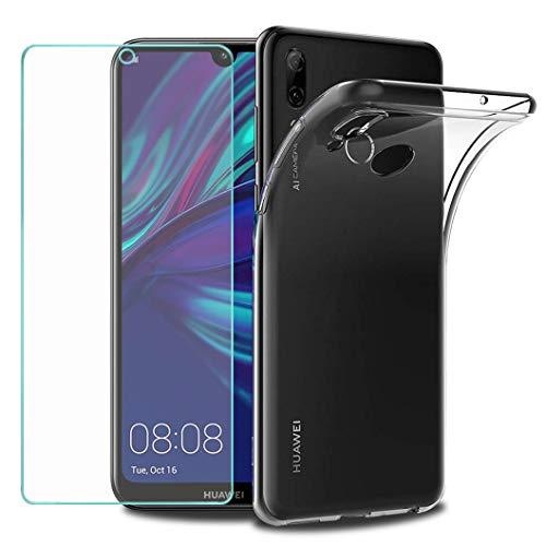 Wanxideng - Funda para Huawei Y7 2019 + Protectores de Pantalla in Cristal Templado, Carcasa Suave Delgado Claro Funda de Silicona TPU - Transparente