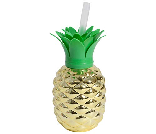 Ananas beker om te hangen partybeker 500 ml JGA met rietje drinkglas cocktail Hawaii party deco tropical goud