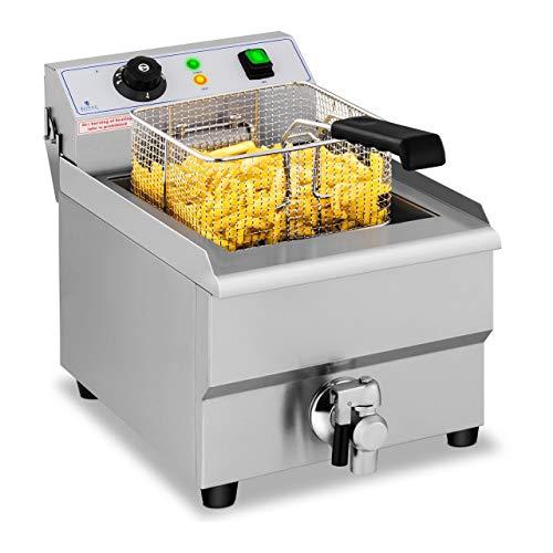 Royal Catering Elektro-Fritteuse Edelstahl RCEF 16EB (3.500 W, Kapazität: 16 l, Temperaturbereich: 50-200 °C, Kaltzone, mit Ablasshahn)