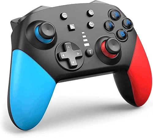 Hbaid Bluetooth Wireless Pro Controller Für Switch, Switch Controller Switch Controller Gamepad mit 1200-mAh-Polymer-Lithium-Akku und Turbo Dual Shock Joysticks Spiele Controller (Blau/Rot)