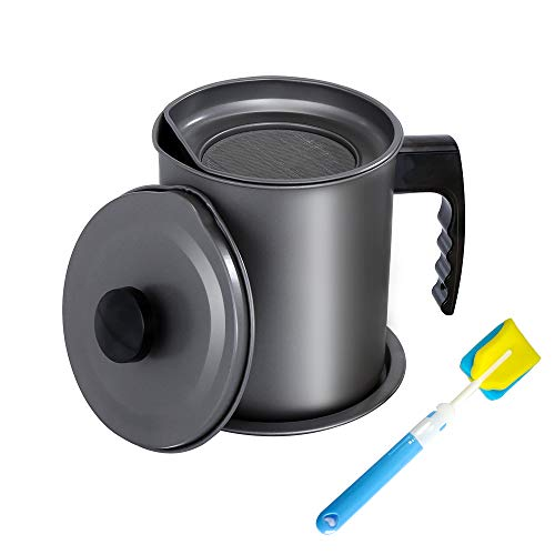 KEOUKE Grease Strainer and Container - 1.6L Iron Bacon Grease Catcher Grease Holder for Cooking Oil, Frying Oil with Replaceable Cleaning Brush