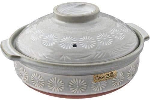 Japanische Hana Mishima Donabe-Keramik-Kasserolle Banko Steingut Tontopf für Shabu Shabu, hergestellt in Japan (21,6 cm Durchmesser)