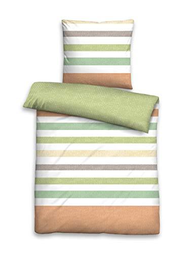biberna 0024320 Bettwäsche Garnitur mit Kopfkissenbezug Baumwoll Soft-Seersucker 1x 240x220 cm + 2x 80x80 cm pistaziengrün