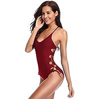 SHEKINI Traje de baño de una Pieza de Mujer Monokini de Color sólido con Correa Lateral Ajustable Conjunto de baño de Bikini Deportivo de una Pieza (M, Vino Tinto)