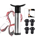 Wine Vacuum Saver Pump Preserver with 4 Reusable Valve Air Bottle Stoppers