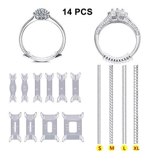 DesignerBox - Set di 14 regolatori per le dimensioni degli anelli, con clip invisibili e chiusura a spirale, per anelli troppo larghi, con panno per lucidare