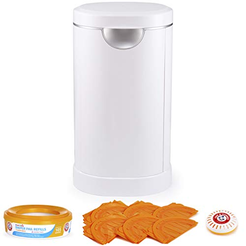 Munchkin Diaper Pail Baby Registry Starter Set, Powered by Arm & Hammer, Includes 1 Month Refill Supply and Baking Soda Puck
