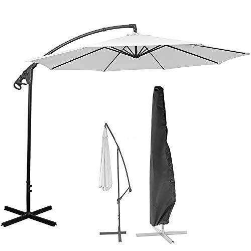 ALLOMN Cubierta para sombrilla de patio de 9 pies a 12 pies, impermeable offset parasol voladizo con cremallera utilizada para exteriores, jardín, colgar, color negro