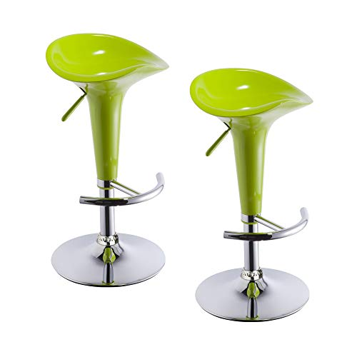 2er Set Barhocker Kunststoff Barstuhl versch. Farben höhenverstellbar Tresenhocker - TYP 103, Farbe:Grün, Material:Kunststoff