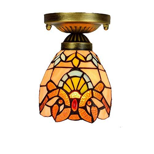 Gele Barokke Stijl van Tiffany plafondlamp Semi inbouw hanger Opknoping lichtpunt 6 Inch Stained Glass Shade for Dinner Room Hallway Stairway Bar (7