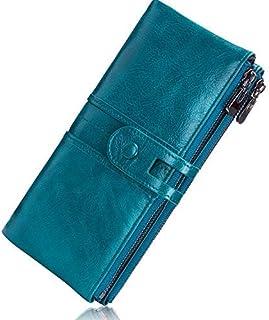 ROULENS - Portafogli da donna in vera pelle, multifunzione, sottile, con cerniera, grande capacità porta carte con RFID (b...