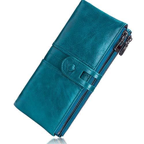 ROULENS - Portafogli da donna in vera pelle, multifunzione, sottile, con cerniera, grande capacità porta carte con RFID (blu pavone)