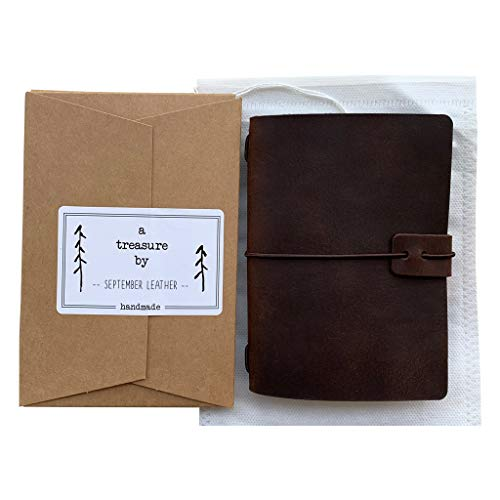 Refillable Leather Travelers Notebook - Passport Size Travel Journal with Lined Insert, 4 x 5.5 Inches, Dark Brown Photo #4