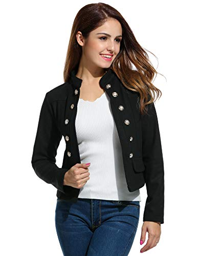 ELESOL Women's Casual Work Blazer Office Jacket for Women and Juniors Black L