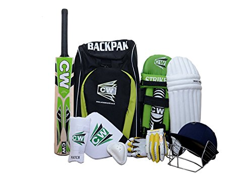 League CW cricket set, green, with 20 - Kashmir willow with short handle cricket bat, accessory for everyone who wants the- + bag backpack cricket set, green, size 4 Ideal For 7-8 Year Child