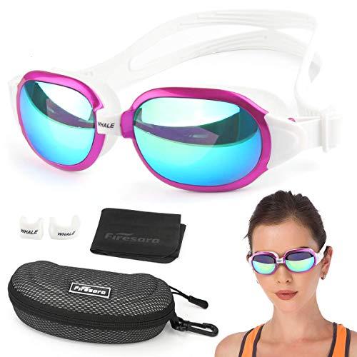 Firesara Swim Goggles, No Leaking Large Frame Wide View Pool for Women Men (Hot pink)