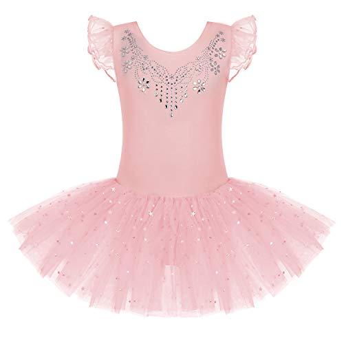 Bricnat Mädchen Ballettkleid Kurzarm Ballettkleidung Tanzkleid Tanzbody Balletttrikot mit Tütü Kinder Baumwolle mit Pailletten