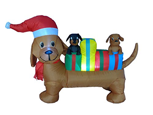 4 Foot Long Lighted Christmas Inflatable Three Dogs Puppies with Multicolor Gift Boxes LED Lights Outdoor Indoor Holiday Blow up Lawn Inflatables Home Family Party Decor Yard Decoration