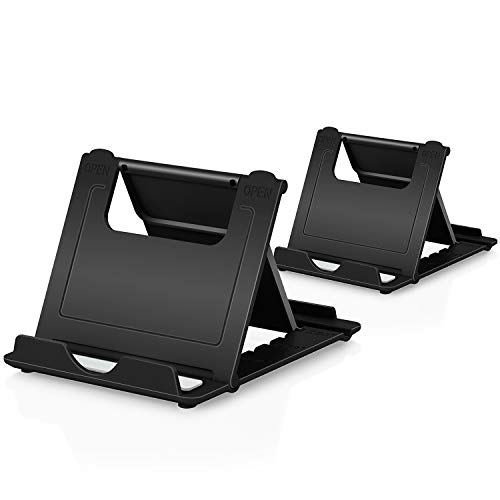 """Phone Stand, 2Pack Cellphone Holder Tablet(4-7.9"""")stands Foldable Multi-angle for desk lightweight Desktop Dock Cradle Compatible for iPhone Xs Max XR 8 Plus 6 7 6S X 5 Samsung Galaxy S10 S9 S8 S7 Edg"""